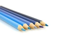 Blauwe potloden in close-up Royalty-vrije Stock Afbeeldingen
