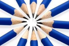 Blauwe potloden in een cirkel - sluit omhoog Royalty-vrije Stock Foto