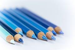 8 blauwe Potloden met Witte Achtergrond Stock Afbeelding