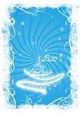 Blauwe prentbriefkaar met witte spar Stock Foto's