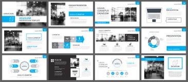 Blauwe presentatiemalplaatjes en van infographicselementen achtergrond royalty-vrije illustratie