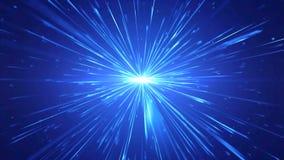 Blauwe radiale straaluitbarstingen als spatio tijdelijke tunnel stock video