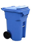 Blauwe recyclingscontainer Stock Afbeelding