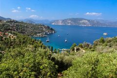 Blauwe reis op Egeïsche Overzees/Marmaris royalty-vrije stock afbeelding