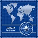 Blauwe reisachtergrond met gestippelde wereldkaart Stock Afbeeldingen
