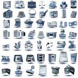 Blauwe rekeningspictogrammen stock illustratie