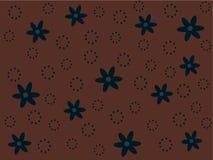 Blauwe retro bloemen op bruine achtergrond royalty-vrije illustratie