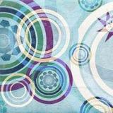 Blauwe retro cirkels - oude document textuur Royalty-vrije Stock Foto