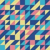 Blauwe Retro Halve Vierkante Driehoeks Naadloze achtergrond Stock Afbeeldingen