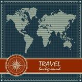 Blauwe retro reisachtergrond met wereldkaart Stock Afbeeldingen