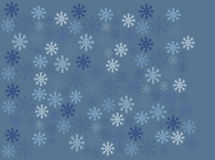 Blauwe retro sneeuwvlokken op blauwe achtergrond royalty-vrije illustratie