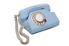 Blauwe retro telefoon Stock Fotografie