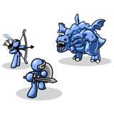 Blauwe ridder, schutter en draak Royalty-vrije Stock Afbeelding