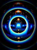 Blauwe ringen van licht Stock Fotografie