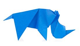 Blauwe rinoceros van origami Stock Foto