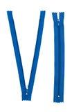 Blauwe ritssluitingen op witte achtergrond Stock Fotografie