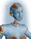 Blauwe robotvrouw die hoofdtelefoon draagt stock fotografie