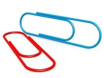 Blauwe rode paperclip Stock Afbeelding