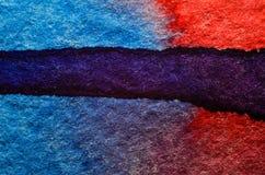 Blauwe rode waterverfachtergrond Royalty-vrije Stock Afbeeldingen