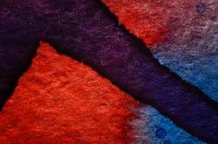 Blauwe rode waterverfachtergrond Royalty-vrije Stock Foto