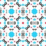 Blauwe rode zwarte voorwerpen op witte achtergrond naadloze patroon vectorillustratie Royalty-vrije Stock Fotografie