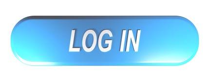Blauwe rond gemaakte rechthoekdrukknop aan LOGIN - het 3D teruggeven stock illustratie