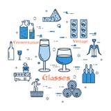 Blauwe ronde banner - wijnglazen royalty-vrije illustratie