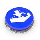 Blauwe ronde knoop met downloadteken. Stock Foto's