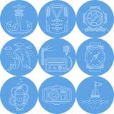 Blauwe ronde mariene pictogrammen Stock Fotografie