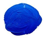 Blauwe ronde slagen van de geïsoleerde verfborstel Royalty-vrije Stock Afbeelding