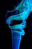 Blauwe rook op zwarte. Stock Foto