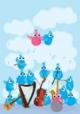 Blauwe Roze Vogels Instrument_eps Royalty-vrije Stock Afbeeldingen