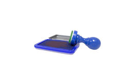 Blauwe rubberzegels, kantoorbenodigdheden, materiaal voor ondernemingen royalty-vrije stock afbeeldingen