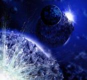 Blauwe ruimte en planeten stock illustratie