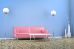 Blauwe ruimte met een bank Royalty-vrije Stock Afbeeldingen