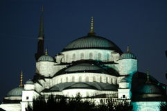 Blauwe 's nachts Moskee stock fotografie