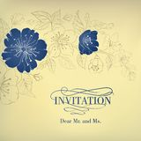 Blauwe sakurabloemen op een uitstekende achtergrond Stock Fotografie