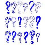 Blauwe samenvatting Hand getrokken reeks krabbelvraagtekens Vectorillustratie voor uw pictogram, achtergrond, behangontwerp beeld vector illustratie