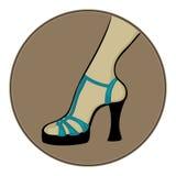 Blauwe sandals met hielen Stock Afbeelding