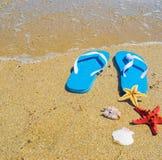 Blauwe sandals met zeester en shells door de kust stock fotografie