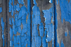 Blauwe schilverf op hout Royalty-vrije Stock Foto