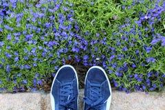 Blauwe schoenen tegen groene grasachtergrond stock fotografie