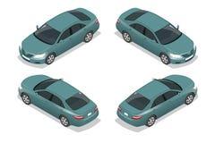 Blauwe sedanauto Vlakke isometrische hoogte - de reeks van het het vervoerpictogram van de kwaliteitsstad Vector illustratie Stock Foto