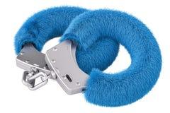 Blauwe sexy pluizige handcuffs close-up, het 3D teruggeven Royalty-vrije Stock Afbeeldingen