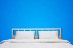 Blauwe slaapkamer Stock Foto's