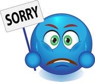 Blauwe smiley verontschuldigt zich Stock Foto's