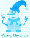 Blauwe sneeuwman met hoed en sjaal Stock Foto