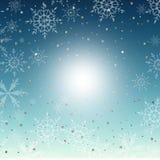 Blauwe sneeuwvlokachtergrond stock foto
