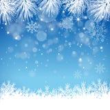 Blauwe Sneeuwvlokachtergrond - Illustratie Stock Afbeelding