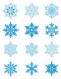 Blauwe sneeuwvlokken Royalty-vrije Stock Foto's